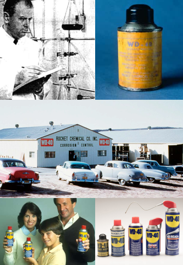Collage of photos from WD-40 history